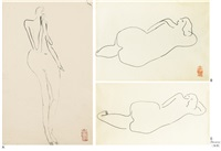nu marchant (walking nude) and odalisque (recto-verso) (2 works) by sanyu