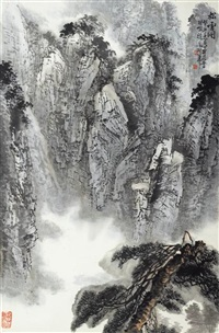 pine trees on misty mountain by xu jiayu