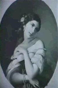 halbfiguriges portrait einer jungen frau mit rose im haar by c. gutsch