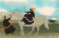 lady on horseback with whip by mary fedden