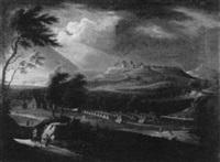 zeltlager am fuße einer stadt mit burg by carl sebastian von bemmel