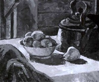 table top still life of a bowl of fruit and a copper kettle by james lesesne wells