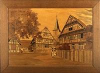 alsatian village scene by jean-charles spindler
