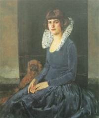 portrait eines sitzenden mädchens by albert janesch