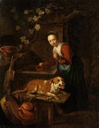 junge magd mit hund beim wasserschöpfen am brunnen by pieter cornelisz van slingeland