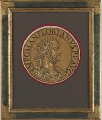 goltzius' beautiful roman coins (icones imperatorum romanorum, ex priscis numismatibus ad viuum delineatoe, s breui narratione historica. antueg, 1645)(12 works) by hubert goltzius