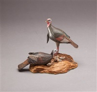 miniature wild turkey pair with chicks by allen j. king
