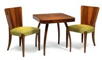 vier stühle h 214 und tisch h 259 (set of 5) by jindrich halabala