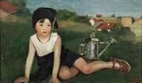 retrato de su hijo joaquin con una regadera by maria roesset mosquera