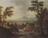 a hilly river landscape with a stag hunt by johann christian fiedler