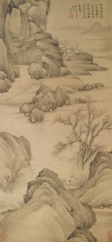 autumn landscape with figure by zhang feng