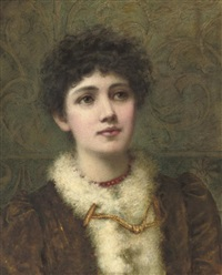 portrait of a lady, bust-length, wearing a red bead necklace by helen jackson