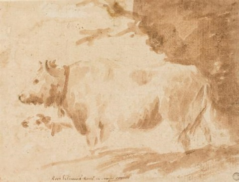 landscape with a cow by jean honoré fragonard