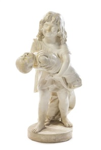 a continental marble figure depicting a young girl carrying a crying baby boy by anonymous (19)