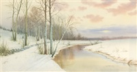 winter landscape with birches and stream by george howell gay
