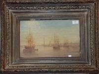 marine, vue de port by eugène gabriel jaboneau