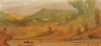 landscape with fisherman on a lake by louis michel eilshemius
