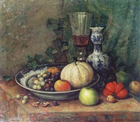 still life with wine glass, vase and fruit dish by karel boom