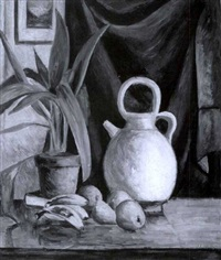 still life of fruit and a ceramic kettle by james lesesne wells