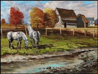 horses near the barn by peter etril snyder