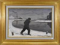 paysage neige avec personnage by françois rasquin