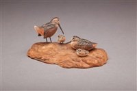 miniature woodcock pair with chicks by allen j. king