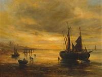segelboote an der englischen küste bei sonnenuntergang by samuel bough