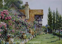 view of house and gardens at rusthall, tunbridge wells, kent by ernest arthur rowe