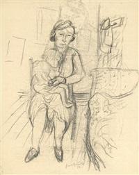 mutter und kind (+ pen & ink drawing of same, verso) by hans grundig
