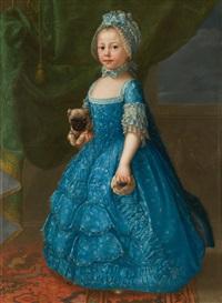 la niña maría teresa del castillo sosteniendo con sus manos un perrito y una rosquilla. hacia by d. francisco bayeu y subias