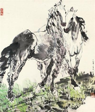 双骏图 horses by liu boshu