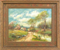 landscape with a cottage by mary b. leisz