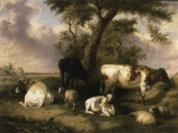 cattle and sheep grazing in a field with a cottage by george jackson