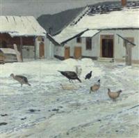 winterlicher hühnerhof by hugo baar
