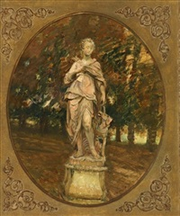 statue of diana in a garden by walter gay