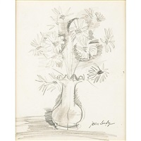 pencil drawing for a vase of flowers (framed) by jean dufy