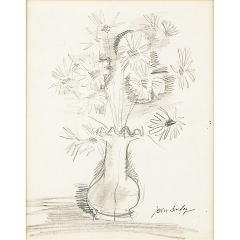 Pencil Drawing For A Vase Of Flowers Framed By Jean Dufy On Artnet