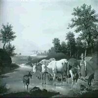 bauernfamilie mit vieh an der furt by friedrich karl joseph simmler