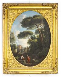 figures in a italian capriccio (a pair) by jan frans van bloemen