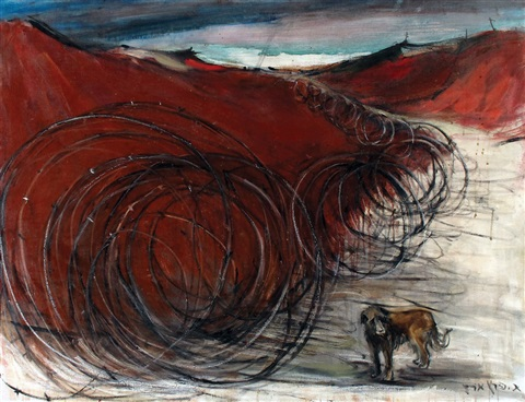 dog by a fence by esther peretz arad