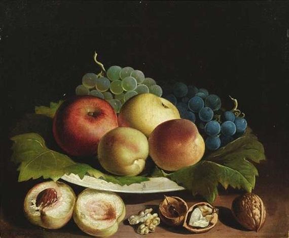 obststilleben mit äpfeln, pfirsichen, trauben und nüssen by vinzenz kreuzer
