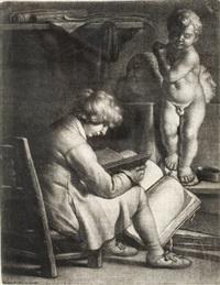 der junge mann vor der statue des amor by wallerant vaillant