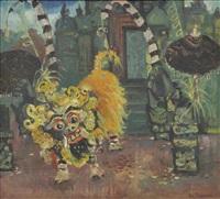 dämonengestalt vor südostasiatischer tempelfassade by victor von plessen