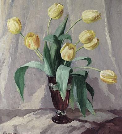 stilleben mit gelben tulpen in violetter art déco vase by elisabeth krüger