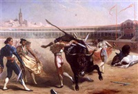 bull fighting scene by louis eugène ginain