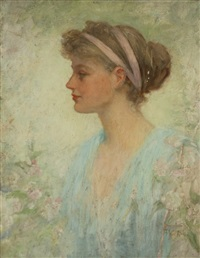 portrait of a young woman in a blue dress by frederick stuart church