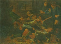 rauferei in einer stube by carl anton weber