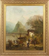alpine scene by guillaume lauters