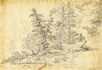 windbruch im tannenwald (+ ansicht eines bayerischen dorfes, verso) by johann jakob dorner the younger