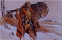 portrait of a mountain man in a winter landscape by gerald mccann